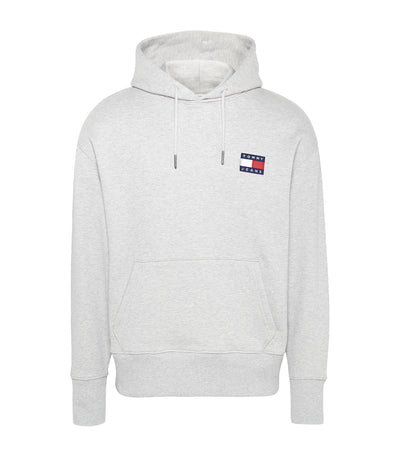 Tommy Badge Drawstring Hoodie Gray Heather