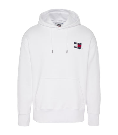 Tommy Badge Drawstring Hoodie Classic White