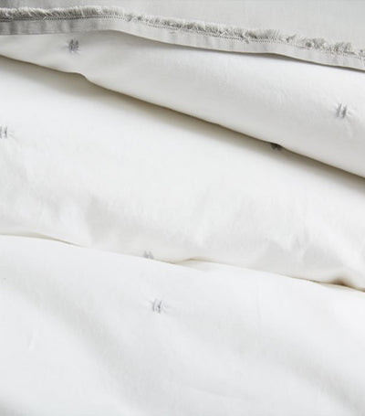west elm Organic Washed Cotton Percale Duvet Cover and Shams - Stone White