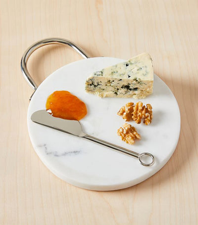West Elm Nickel and Marble Cheese Board with Knife Set