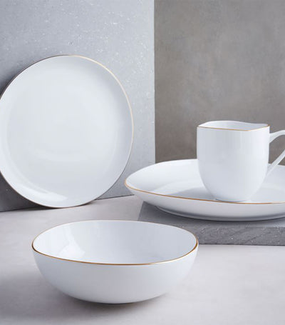 West Elm Organic Shaped Gold Rim Dinnerware Collection
