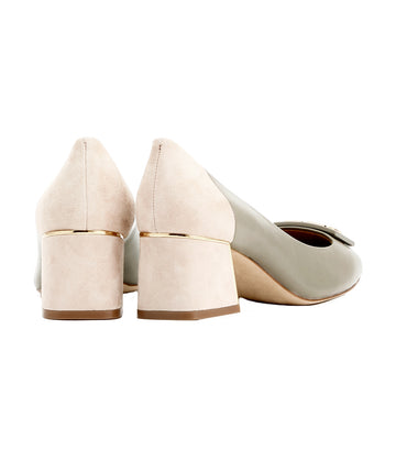 Gigi Rounded-Toe Pump Gray Heron and Light Taupe