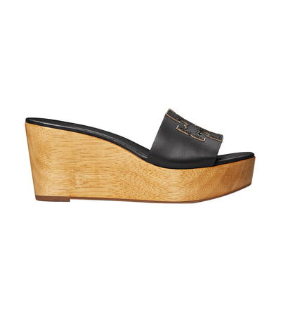 Ines Wedge Slide Perfect Black and Silver