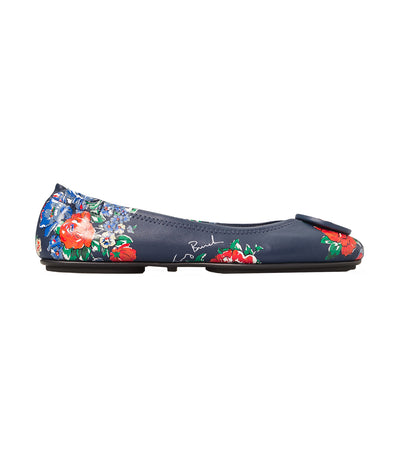 Minnie Printed Travel Ballet Flat Leather Navy Tea Rose