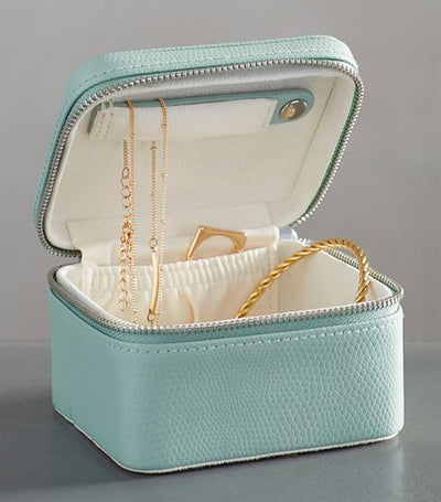 Pottery Barn Mckenna Leather Small Travel Jewelry Case - Porcelain Blue