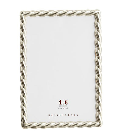 Pottery Barn Metal Rope Picture Frame - Silver
