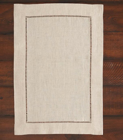 Pottery Barn Linen Hemstitch Placemat, Set of 4 - Flax