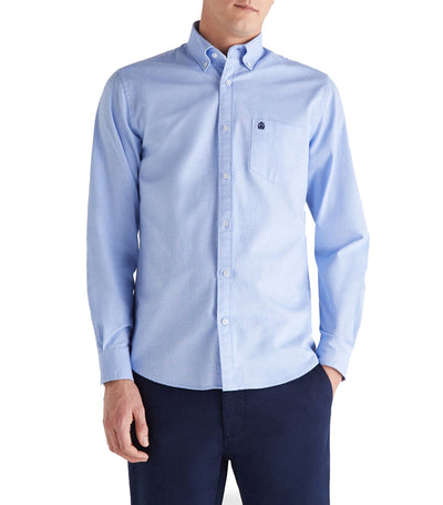 Men Plain Oxford Shirt Medium Blue