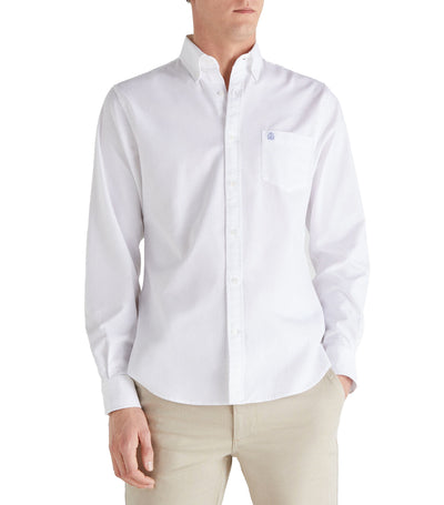 Men Plain Oxford Shirt White