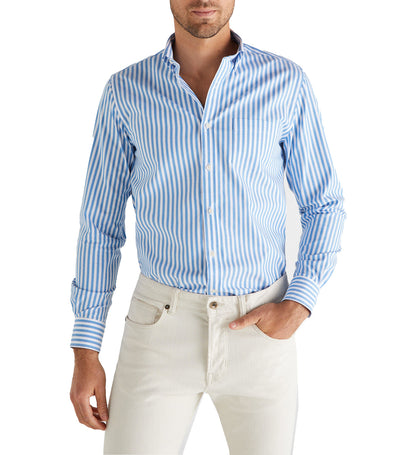 Men Gobi Cotton-Striped Shirt Blue