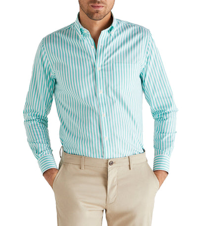 Men Gobi Cotton-Striped Shirt Green