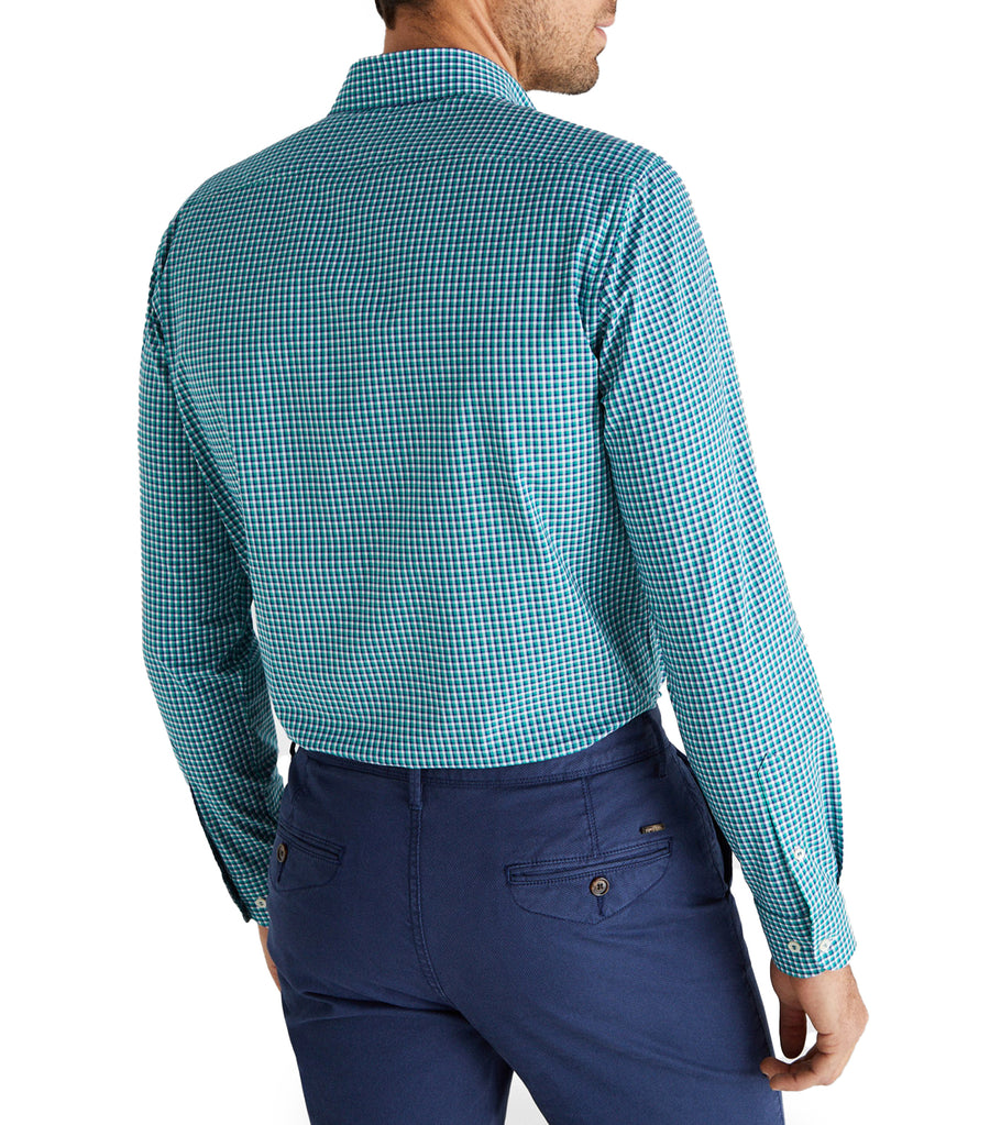Men Gobi Cotton Check Shirt Green