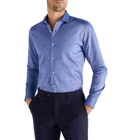 Men Slim Stretch Dress Shirt Navy