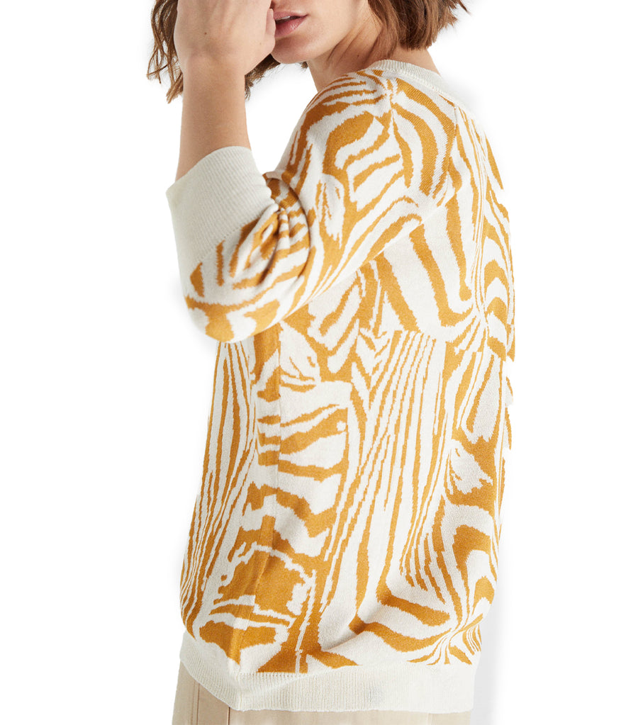 Two-Tone Jacquard Sweater Yellow Print