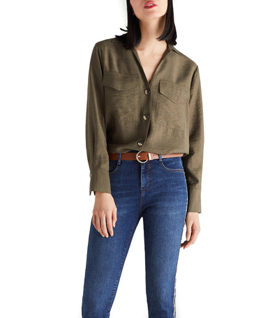 Women Maxi Pocket Shirt Dark Khaki