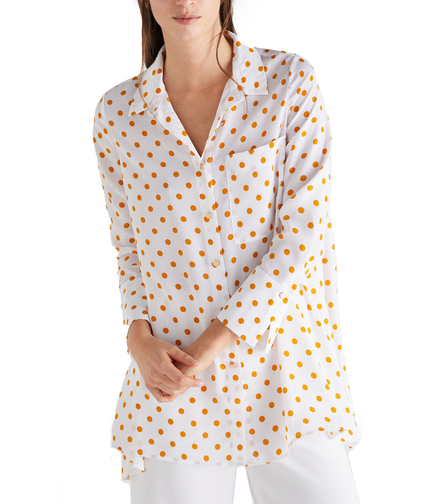 Polka Dot Long Shirt Yellow Print