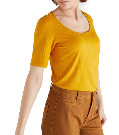 Women Ribbed T-Shirt Gold Mustard