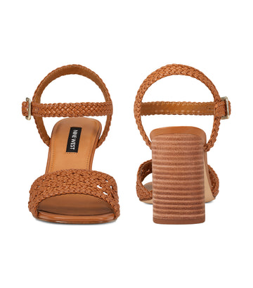 Gwenny Block Heel Sandals Natural