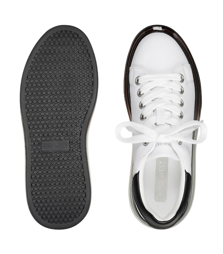 Allie Platform Lace-Up Sneakers Black and White