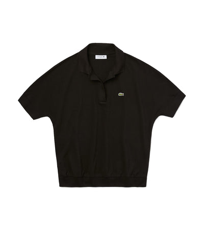 Women's Lacoste Flowy Piqué Polo Shirt Black