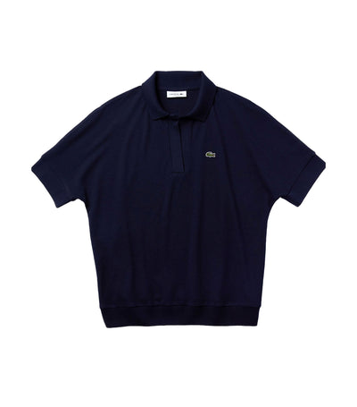 Women's Lacoste Flowy Piqué Polo Shirt Navy Blue