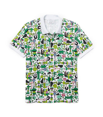 Unisex Lacoste x Jeremyville Print Regular Fit Piqué Polo Shirt White and Multicolor
