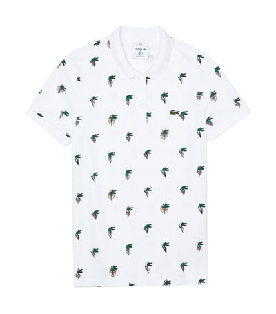 Unisex Lacoste x Jean-Michel Tixier Print Regular Fit Polo Shirt White
