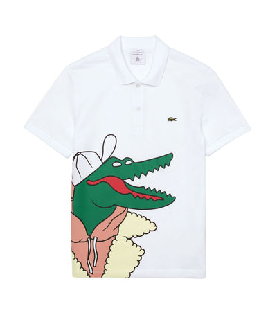 Unisex Lacoste x Jean-Michel Tixier Print Classic Fit Polo Shirt White and Yellow