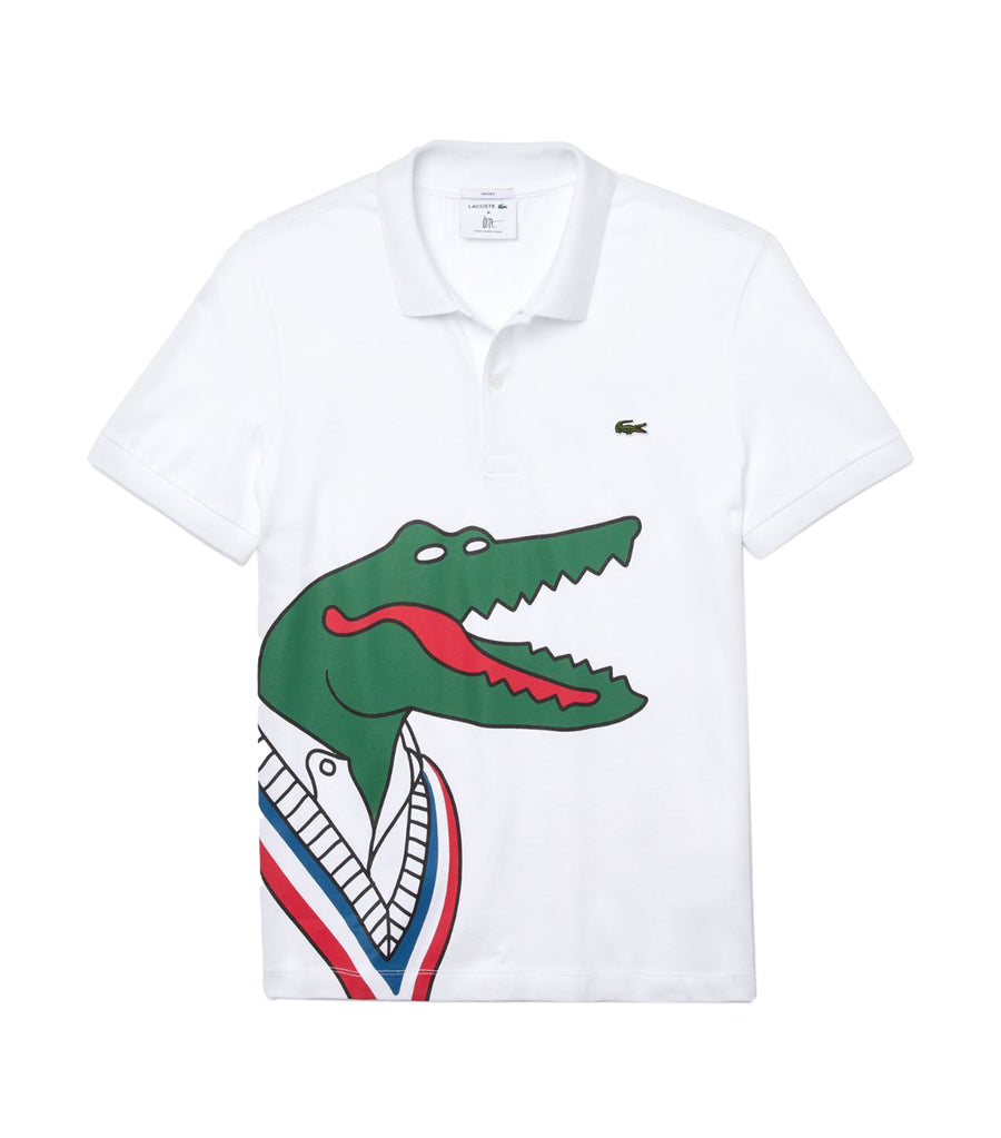 Unisex Lacoste x Jean-Michel Tixier Print Classic Fit Polo Shirt White and Red