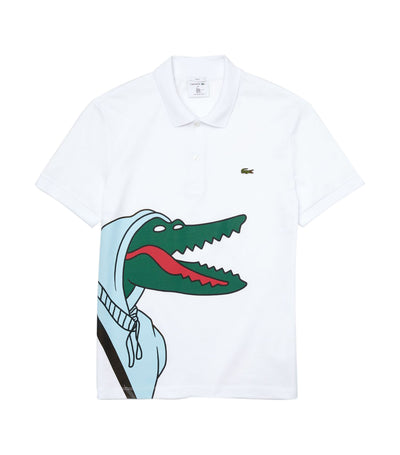 Unisex Lacoste x Jean-Michel Tixier Print Classic Fit Polo Shirt White and Green