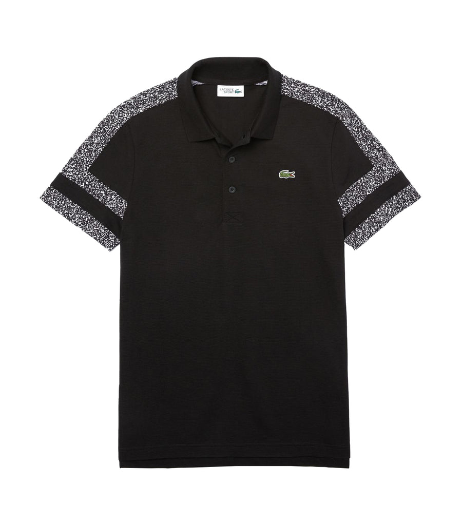 Men's Lacoste SPORT Print Sleeves Ultra-Light Cotton Polo Shirt Black Black and White