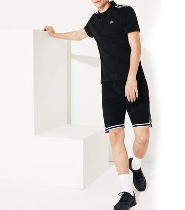 Men's Lacoste SPORT Paneled Ultra-Light Cotton Polo Shirt Black and White