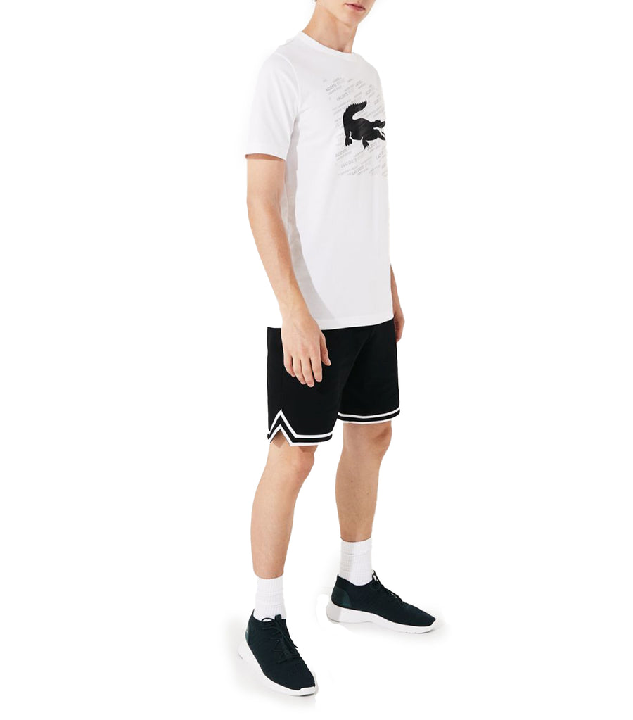 Men's Lacoste SPORT Reflective Crocodile Print Cotton T-Shirt White and Black