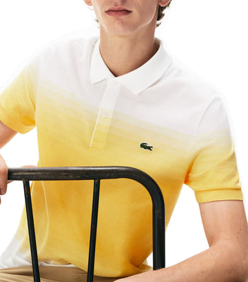 Men's Made in France Cotton Piqué Regular Fit Polo Shirt White and Yellow