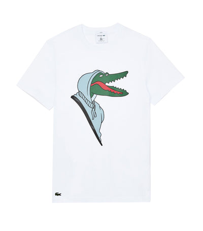 Unisex Lacoste X Jean-Michel Tixier Design Cotton T-Shirt White and Green