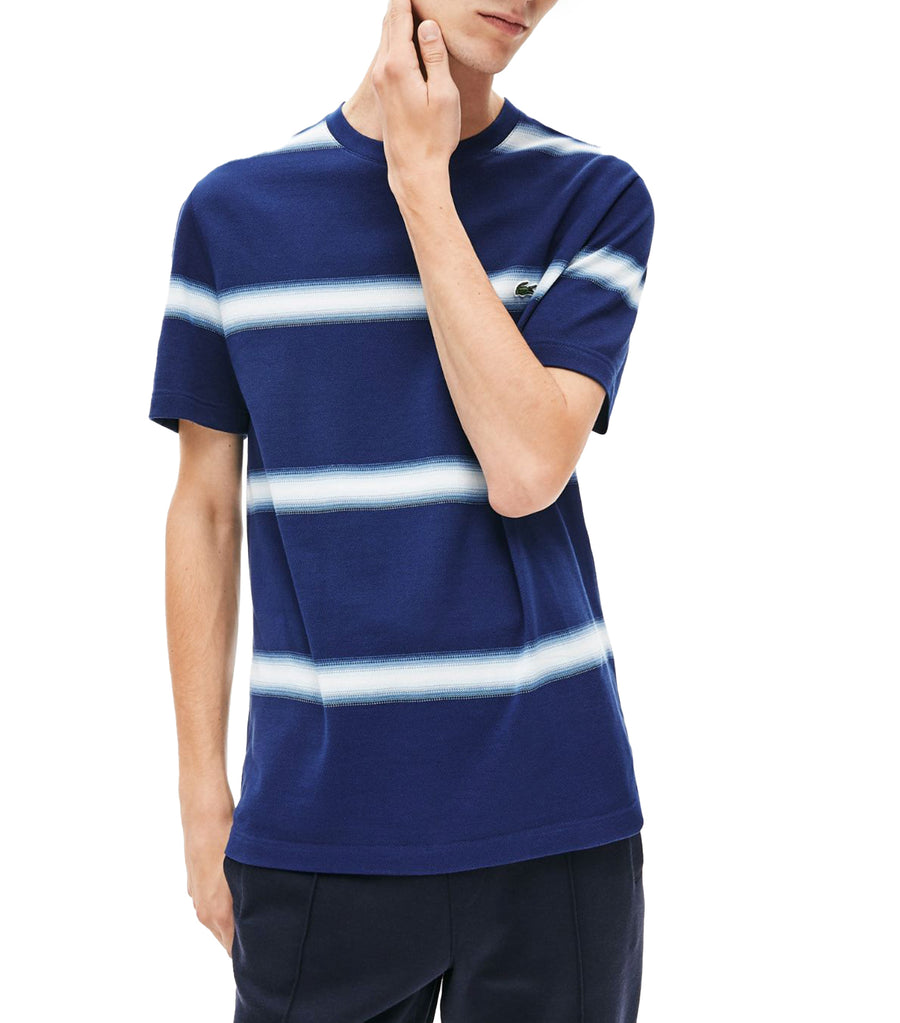 Men's Made In France Striped Cotton Piqué Crew Neck T-Shirt Navy Blue and White
