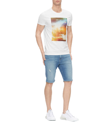 Men's Slim Fit Monogram Photo Print T-Shirt White