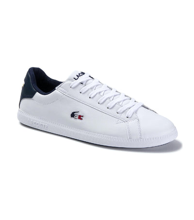 Women's Graduate Leather and Synthetic Sneakers White/Navy