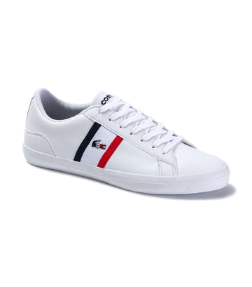 Men's Lerond Tricolore Leather and Synthetic Sneakers White/Navy/Red