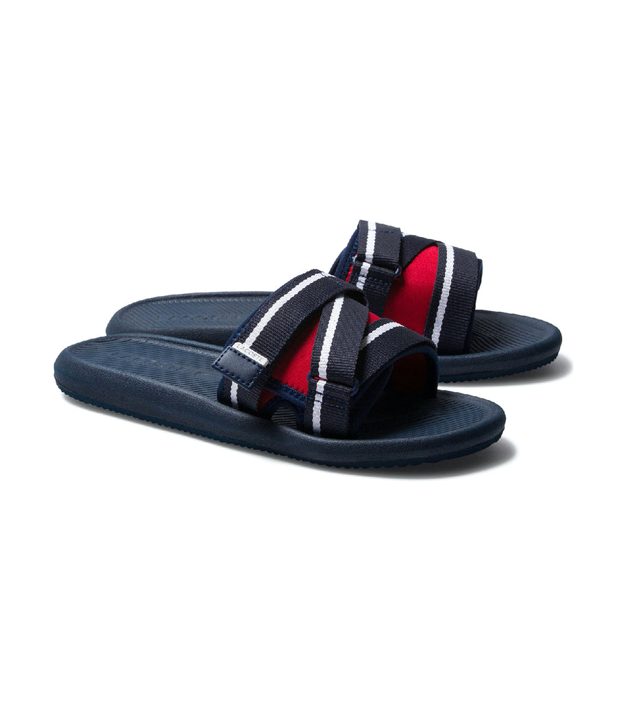 Men's Croco Utility Textile and Synthetic Slides Navy/Red/White