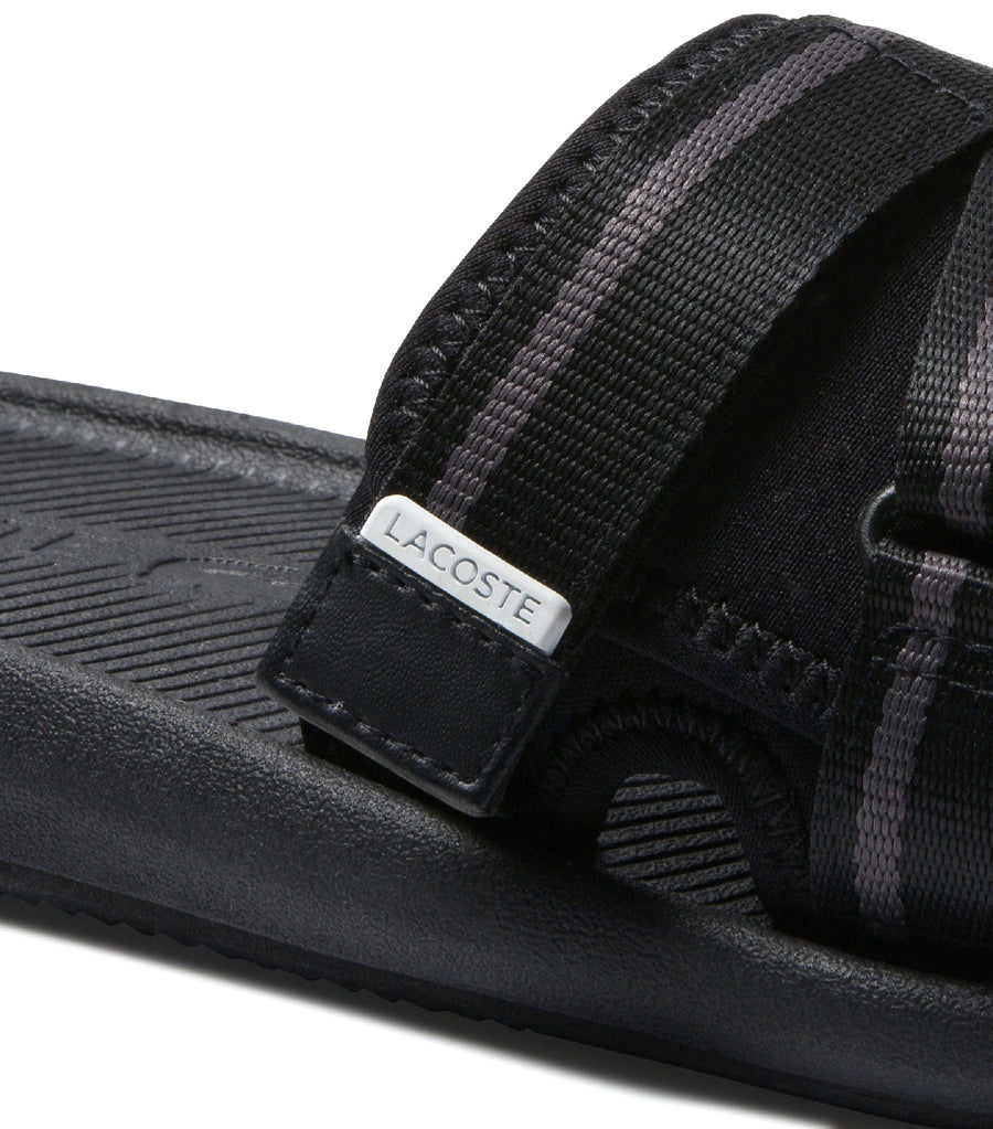 Men's Croco Utility Textile and Synthetic Slides Black
