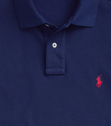 Custom Slim Fit Mesh Polo Blue-Medium