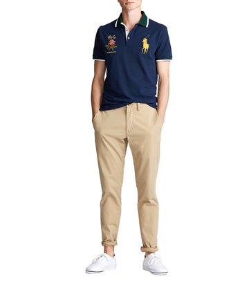 Custom Slim Fit Mesh Polo Navy Blue-Light