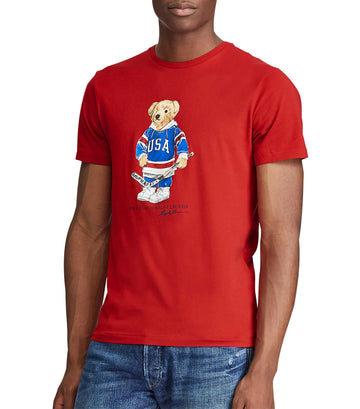 Custom Slim Fit Bear T-Shirt Red-Medium