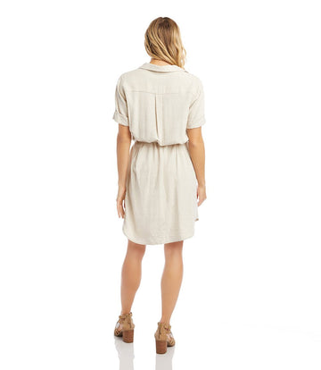 karen kane braided belt shirt dress - beige