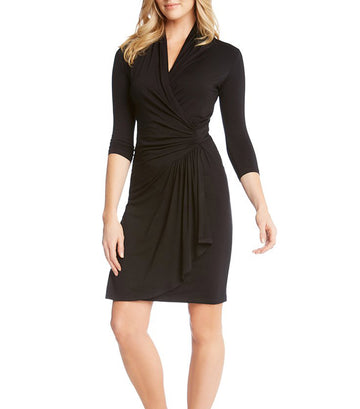 karen kane cascade wrap dress - black