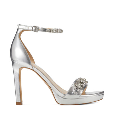 Engaged2 Heeled Ankle Strap Sandals Silver