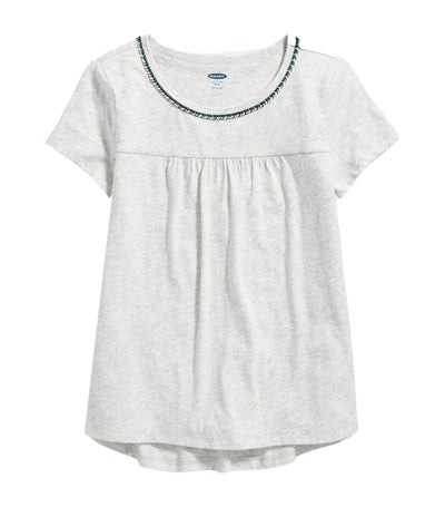 old navy kids softest braided-trim swing tee - light heather gray