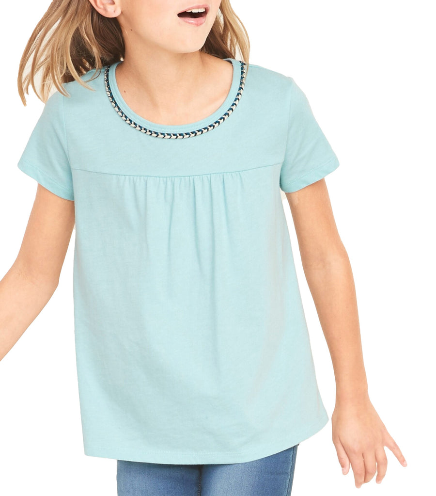 old navy kids softest braided-trim swing tee - kiss the sky