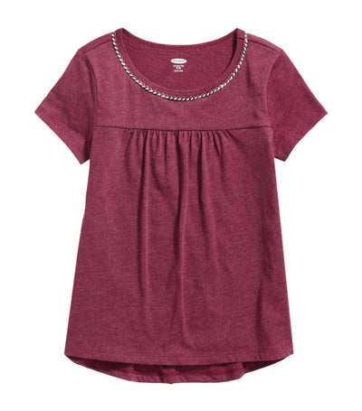 old navy kids softest braided-trim swing tee - wine stain